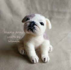 Needle felted puppy American bulldog by FunFeltByWinnie on Etsy