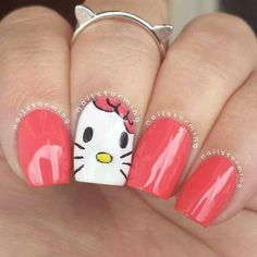 Hello Kitty! Recreation of @nailsbyarelisp's adorable mani with matching cat ears ring from @armcandy_fashion !! I've reached cuteness overload.  Products used: White: 'Blanc' Essie Pink: 'Cute As A Button' Essie Details: Acrylic Paint Top coat: HK girl @Glisten and Glow Jill R-C  Ring: from @armcandy_fashion <3 #Padgram
