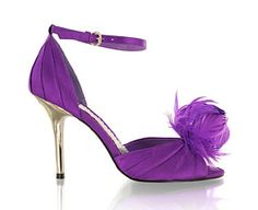 purple wedding shoes feather