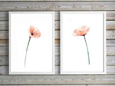 Zacht roze Klaproos schilderij set van 2 prints Aquarel
