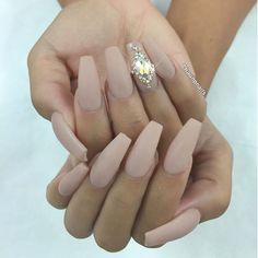 Nude matte coffin bling nails