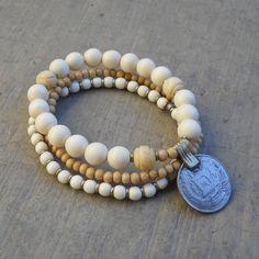Yoga mala, boho chic bracelet set, white wood, African trade beads, vintage coin.