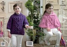 King Cole Super Chunky Knitting Pattern 3823 Cape & Sweater