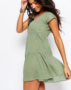 Изображение 3 из Ярусное пляжное платье с присборенной юбкой ASOS