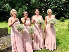 Bridesmaids  Pink Nude ASOS Full length dress Lace  Summer Pink Bridesmaid Dresses, Bridesmaids, Wedding Dresses, Summer Wedding, Our Wedding, Tweed Waistcoat, Moss Bros, Countryside Wedding, Weeding