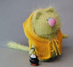 GREENY CAT  AMIGURUMI Halloween Cat Kitty  Knit by MiracleStoreUS