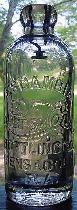 Bottle of Escambia Pepsi Hutchinson style, Escambia Bottling Company, Pensacola, FL. Around in the Pepsi Book of Yesterday.