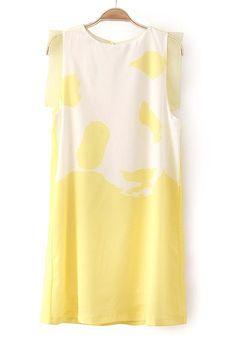 Black Panda Print Round Neck Sleeveless Chiffon Dress