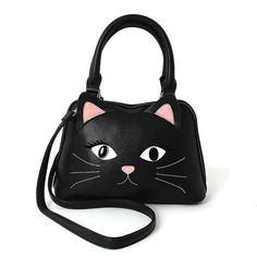 Black Kitty Cat Face Black Satchel Hand Bag Purse #steampunk #clubbing #gothsofinstagram #horrorpunk #pastelgoth #gothicvictorian #vampiregirl #metalbabe #gothicclothing #club