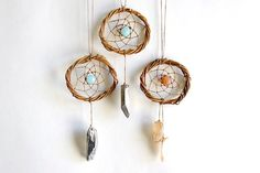$10 on Etsy :) Agate and Quartz Dreamcatchers (Blues and Pink) - Minimalist Decor - Car Accessory - TINY by WelcomeToMyDream on Etsy