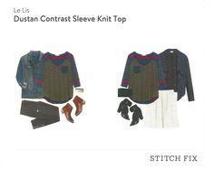 Le Lis Dustan Contrast Sleeve Knit Top Fix #12