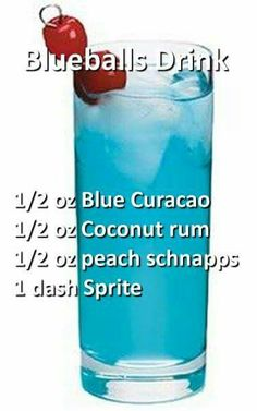 Cocktail with Blue Curacao, coconut rum, peach schnapps and sprite. Rum Cocktails, Liquor Drinks, Cocktail Drinks, Beverages, Peach Schnapps Drinks, Funny Cocktails, Martinis, Holiday Drinks, Party Drinks