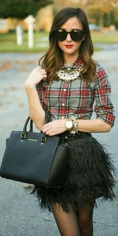 Omg feather skirt! Plaid top