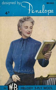 Curvy Month Pattern – Penelope M1362 Bow-Neck Cardigan, c 1940s – Subversive Femme