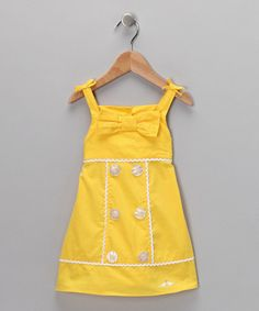 Take a look at this Yellow Button & Bow Dress - Infant & Toddler by Lilybird on today! Fashion Kids, Little Girl Fashion, Little Girl Dresses, Toddler Fashion, Girls Dresses, Little Fashionista, Classic Girl, Mellow Yellow, Yellow Sun