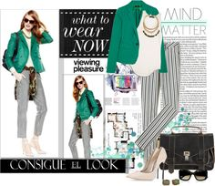 """""""Consigue el Look: Emerald and Stripes"""" by amateurfashionista on Polyvore"""