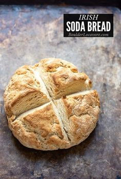Authentic Irish Soda Bread is an easy rustic bread with a crusty outside and soft bread inside. It only takes a few simple ingredients: no yeast, eggs or butter! Egg And Bread Recipes, Recipe For Soda Bread, Egg Free Bread Recipe, Gluten Free Irish Soda Bread Recipe, Irish Desserts, Irish Recipes, Irish Meals, Easy Recipes, Traditional Irish Soda Bread