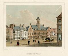 Lithographie intitulée Mons. Hôtel-de-Ville. Elle porte, en bas à gauche, la mention « Hoolans del. et lith. » et en bas à droite « Imp. Simonau & Toovey ». Vues de Mons en 1853, Charles-Joseph Hoolans