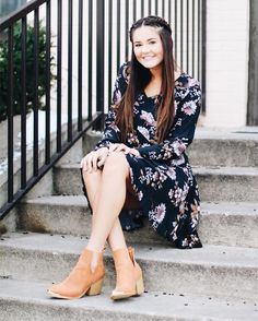 It's not hard to look as cute as her when you have the cutest dress and shoes on!💕💕 Dress $40 Booties $52 on shopamara.com! #shopamara #outfit #onpoint