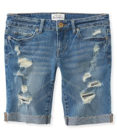 NEW! Destroyed Denim Bermuda Shorts - Aeropostale... Finally found cute, modest shorts!!
