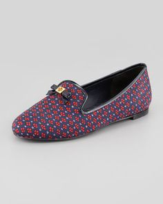 Tory Burch Chandra Printed Smoking Loafer Navy Tory Burch