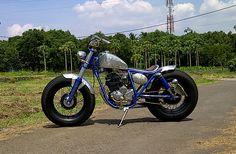 Yamaha Scorpio # Bratstyle # Bobber # Hand Engraving # Victorious Custom Works # Indonesian # West Java