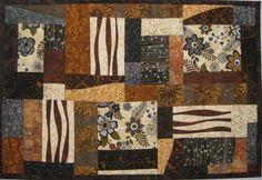 Art Quilt Modern Blocks in Brown Black Grey by ArtQuiltsBySharon