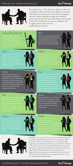 Deciding on what to wear to an interview can often take hours! Use our Infographic to see how different colour choices could affect the employers decision.