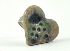 Ceramic Heart Ring on Adjustable Ring Shank White Green Red Marsala Fused Glass Handmade Pottery Statement Jewellery Felt Jewelry Pouch by Dawn Whitehand on Etsy - pinned by pin4etsy.com