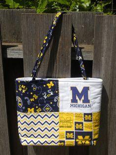 University of Michigan Purse - Medium Handbag Fabric Tote - Michigan Tote Handbag - Maze and Blue on Etsy, $30.00