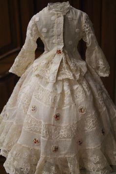 Antique/Vintage French fashion muslin dress for doll | eBay
