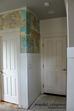 Map wall and wood wainscoting project