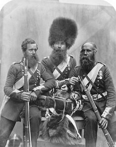 Seated from left to right is Joseph Numa, John Potter and James Deal, three soldiers of the Coldstream Guards. Crimean War, 1854-56. via reddit