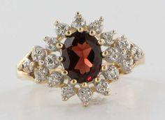 Vintage 10K Yellow Gold Diamond Garnet Cocktail Ring Fine Estate Jewelry Used | eBay
