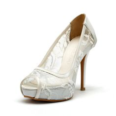 Ivory White Lace Wedding Shoes,Ivory White Bridal Heels,Ivory White Satin See Through Lace Peep Toe Pumps on Etsy, $128.95 CAD