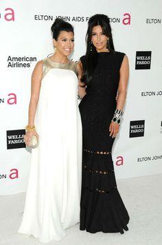 Kim and Kourtney at Elton John's Oscar party