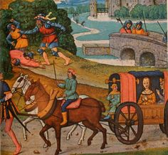 Eleanor's carriage would have looked like this. More like a wagon with nothing to absorb the bumps in the road. (Ignore the murderers in the background. Medieval Horse, Medieval Life, Medieval Art, Medieval Manuscript, Illuminated Manuscript, Roman, Little Red Wagon, Renaissance Era, Book Of Hours