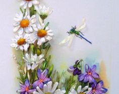 Embroidered picture Silk ribbon by SilkRibbonembroidery on Etsy