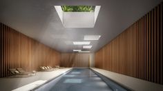 Indoor Swimming Pool Ideas - You want to build a Indoor swimming pool? Here are some Indoor Swimming Pool designs and ideas for you. Indoor Outdoor Pools, Indoor Swimming Pools, Swimming Pool Designs, Lap Swimming, Lap Pools, New York Projects, Inexpensive Flooring, Modern Pools, Pool Spa
