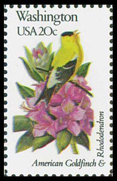 1982 WASHINGTON State Stamp - state Bird American GoldFinch & state Flower Rhododendron