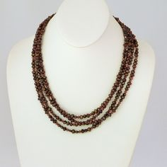 Chocolate Crystals and Pearls Multistrand Necklace by tbyrddesigns on Etsy