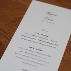Tea Length Flat Wedding Menu  4 x 8  Elegant by JosieJeanDesign, $0.85  Etsy