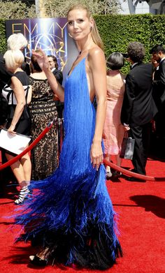 Heidi Klum in Sean Kelly fringe dress and Lorraine Schwartz jewelry – 2014 Primetime Creative Arts Emmy Awards