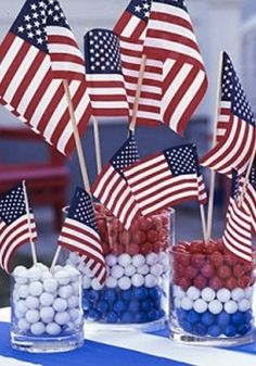 Create these easy 4th of July centerpieces topped off with mini American flags for the perfect party tablescape.