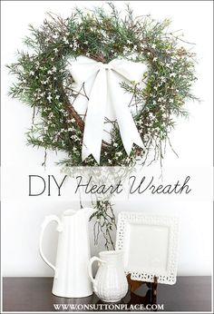 DIY Heart Wreath Tutorial   Heart shaped grapevine wreath embellished with white silk flowers and a white satin bow. Easy and budget-friendly!