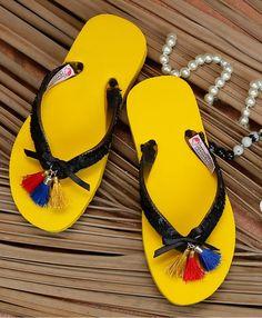 4da237d1f Buy D Chica Yellow   Black Rubber Tassles Flip Flop online