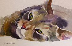 Coco, Katya Minkina fine art, watercolor on paper.