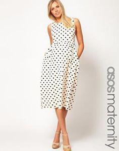 ASOS Maternity   ASOS Maternity Midi Dress In Spot Print at ASOS - top with colorful cardigan