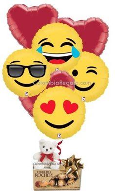 Maravilloso bouquet de Globos Emoji  emoticons a domicilio en Colombia