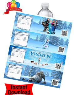 Frozen Movie Water Bottle Labels - INSTANT DOWNLOAD- 4 Designs Included - Disney Frozen Moive Party Favors, Frozen Movie Ticket Invitations on Etsy, $2.99